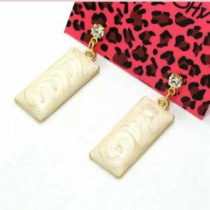 Betsey Johnson Pink Swirl Rectangle Earrings